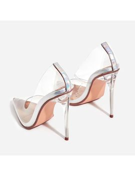 Farrah Perspex Court Heel In Silver Holographic Patent by Ego