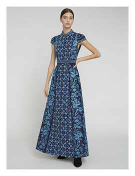 Nidia Mock Neck Embroidered Gown by Alice And Olivia