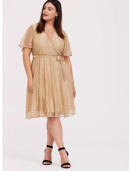 Gold Metallic Polka Dot Mesh Wrap Dress by Torrid