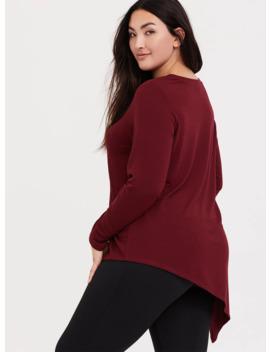 Burgundy Red Asymmetrical Terry Active Sweatshirt by Torrid