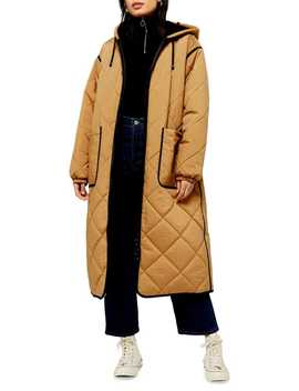 Jane Longline Quilted Parka Jacket by Topshop