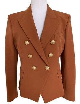 Brown Rust Orange Gold Button Double Breasted Jacket Blazer by Balmain