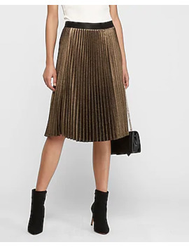 High Waisted Gold Metallic Pleated Midi Skirt by Express