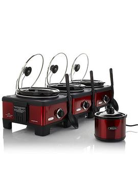 Bella Set Of 3 Linkable 2.5 Quart Slow Cookers With Little Dipper Chocolate Melter by Bella