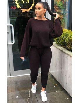 Black & Red Knitted Crop Top Loungewear Set   Lelia by Femme Luxe