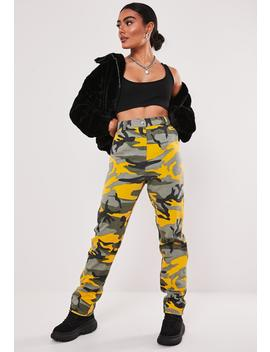 Yellow Cargo Camo Pants by Missguided
