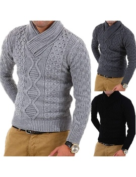 New Men's Fashion Solid Color Slim High Collar Knit Sweater by Wish