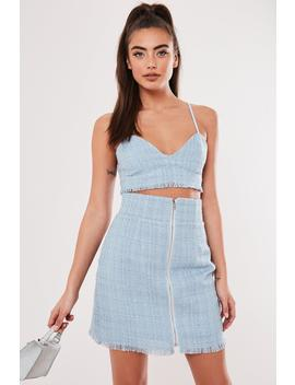 Baby Blue Co Ord Boucle Bralette by Missguided