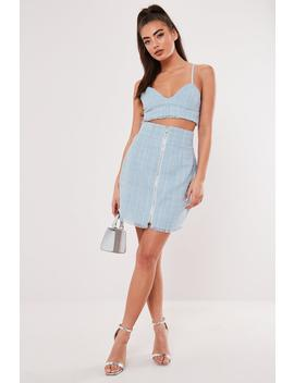 Baby Blue Co Ord Boucle Mini Skirt by Missguided