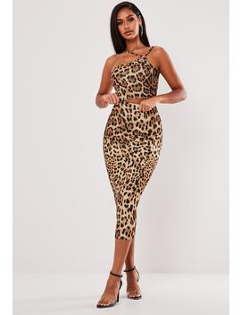 Brown Leopard Print Asymmetric Top And Midi Skirt Co Ord Set by Missguided