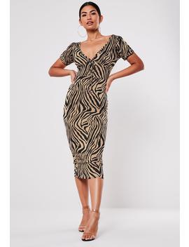 Camel Zebra Print Milkmaid Midi Dress by Missguided