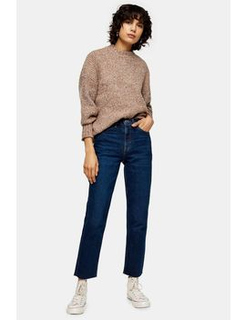 Indigo Raw Hem Organic Cotton Straight Jeans by Topshop