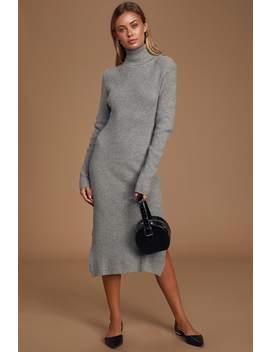 Sheerah Heather Grey Turtleneck Midi Sweater Dress by Lulus