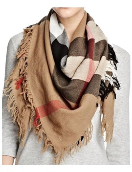 House Check Colour Wool Square Scarf/Wrap by Burberry