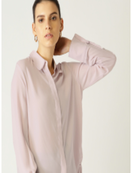 Women Lavender Regular Fit Solid Casual Shirt by Mango