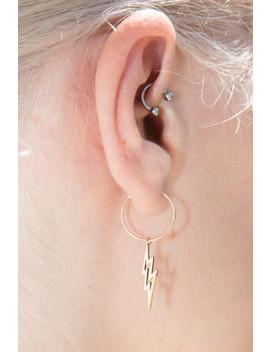 Gold Lightening Bolt Hoop Earrings by Brandy Melville