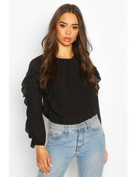 Ruffle Detail High Neck Blouse by Boohoo