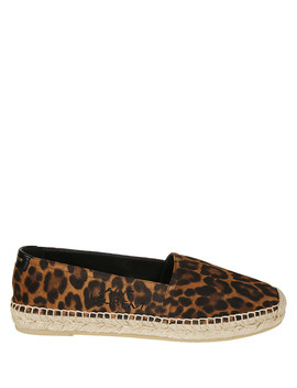 Coffee Leopard Print Espadrilles by Saint Laurent
