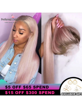 Preferred Ombre Pink Human Hair Wig Purple Straight Lace Front Wig With Baby Hair Brazilian Remy Transparent Lace Wigs For Women by Ali Express.Com