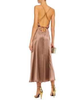 Open Back Silk Charmeuse Midi Wrap Dress by Michelle Mason