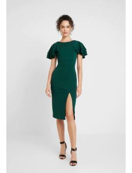 Frill Shoulder Sleeve Midi Dress   Sukienka Koktajlowa by Wal G.