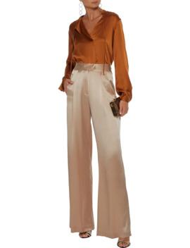 Pleated Silk Satin Wide Leg Pants by Michelle Mason