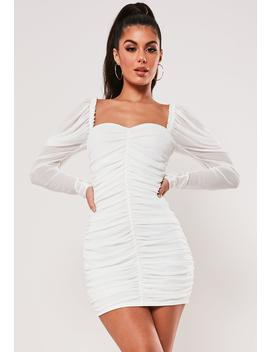 Cream Mesh Ruched Long Sleeve Mini Dress by Missguided