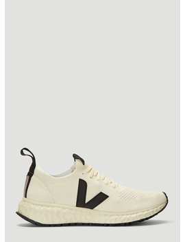 Mesh Knit Sneakers In White by Rick Owens X Veja