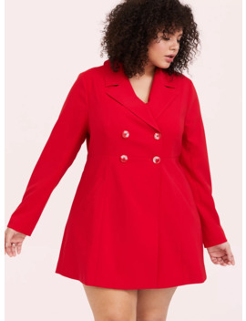 Red Twill Fit & Flare Trench Coat by Torrid