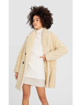 Breasted Faux Shearling Coat by Stradivarius