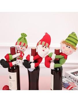 1 Stk Juletilbehør Vinflaske Santa Claus Snømann Flaske Sett Nytt år Julemiddag Dekorasjon  #07704741 by Lightinthebox