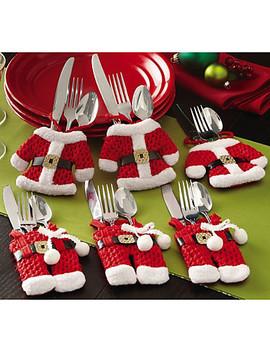 6stk Julebestikk Bordpose Bestikk Lommekniv Servise Bag Santa Claus Middagsbord Hjemme Dekorasjon  #07715575 by Lightinthebox