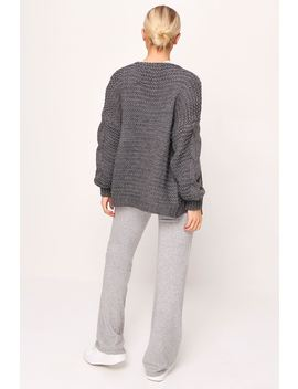 Grey Knitted Chunky Cable Cardigan by I Saw It First