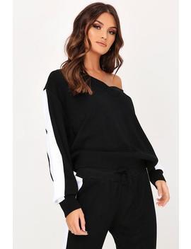 Black V Neck Side Stripe Knitted Jumper by I Saw It First