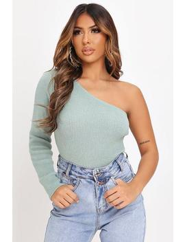 Sage One Shoulder Long Sleeve Knitted Jumper by I Saw It First