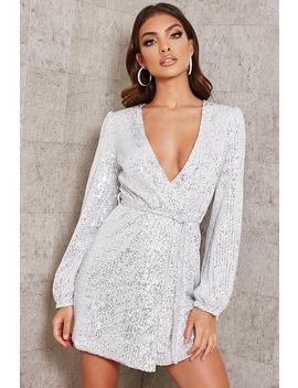 Silver Sequin Belted Blazer Dress by I Saw It First