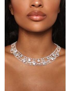 Gala Rhinestone Necklace   Silver by Fashion Nova