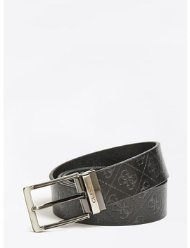 Genuine Leather Debossed Logo Belt by Guess