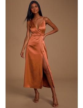 Leave 'em Wowed Bronze Satin Asymmetrical Midi Dress by Lulus
