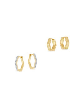 Gold Hex Stack Earring Set by Missoma