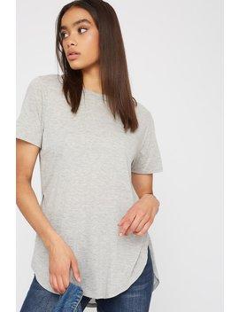 Oversized Slit Dolphin Hem T Shirt by Urban Planet