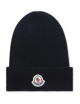 Logo Appliquéd Ribbed Wool Beanie by Moncler
