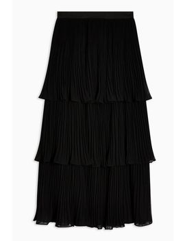 Black Tiered Midi Skirt by Topshop