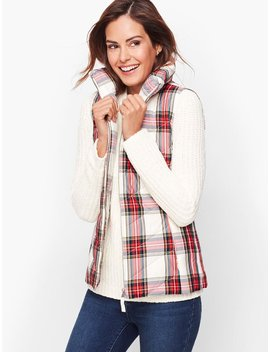 Down Puffer Vest   Plaid by Talbots