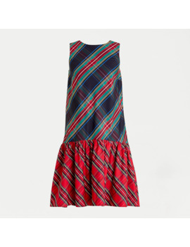 Sleeveless Taffeta Dress In Mixed Stewart Tartan by J.Crew