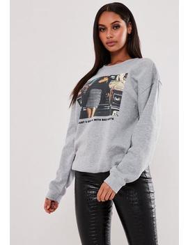 Grey Bad Habits Graphic Sweatshirt by Missguided