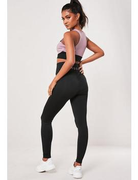 Active Black Msgd Gathered Seam Gym Leggings by Missguided