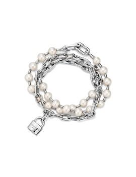 Tiffany Hard Wear        Freshwater Pearl Lock Bracelet In Sterling Silver by Tiffany Hardwear
