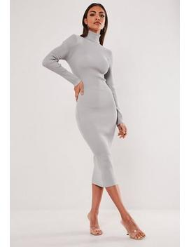 Grey Roll Neck Knitted Midi Dress by Missguided