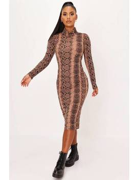 Camel Snake Print Roll Neck Midaxi Dress by I Saw It First